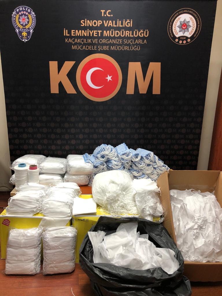 Sinop'ta 3 bin 400 standart dışı maske ele geçirildi
