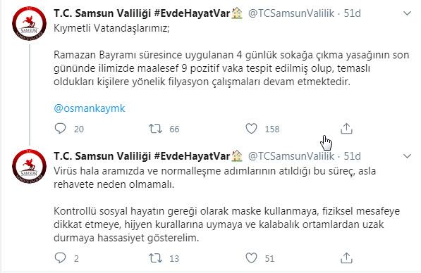 Samsun`da 4 Günlük Vaka Sayısı Açıklandı