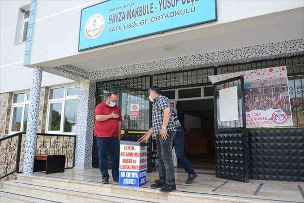 Havza'da Okullara Atık Maske Ve Eldiven Kutuları Dağıtıldı
