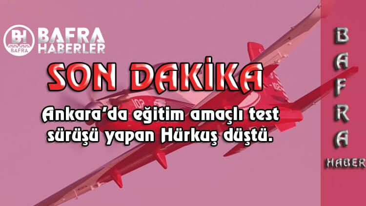 Ankara'da eğitim amaçlı test sürüşü yapan Hürkuş Düştü.