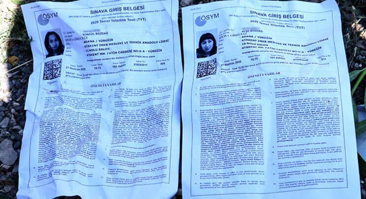 Kaza'da yaralananlar 2 kız kareşinTYT sınav giriş belgesi