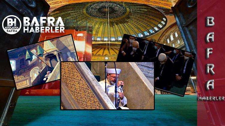 Ayasofya Camisinde ilk namaz kılındı. Ali Erbaş, minbere kılıçla çıktı
