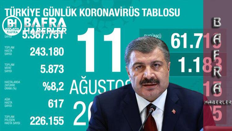 11 Ağustos 2020 Türkiye Günlük Koronavirüs Tablosu