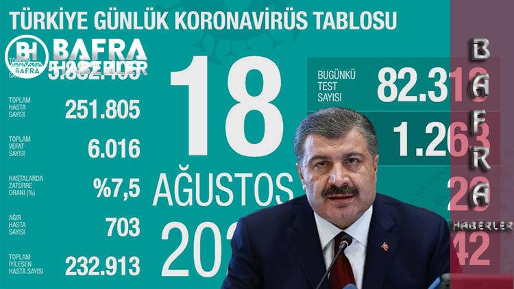 18 Ağustos 2020 Türkiye Günlük Koronavirüs Tablosu