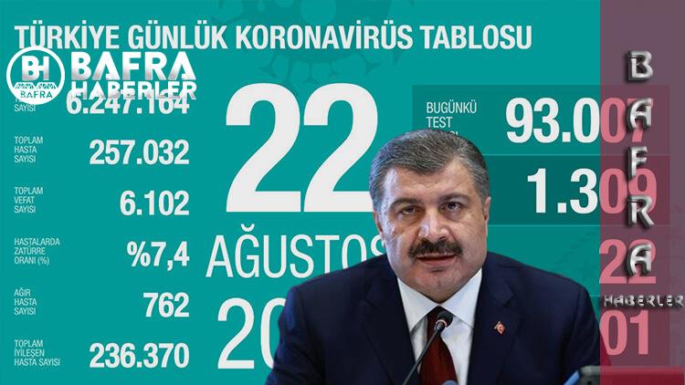 22 Ağustos 2020 Türkiye Günlük Koronavirüs Tablosu