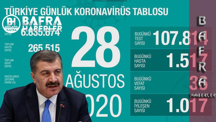 28 Ağustos 2020 Türkiye günlük Koronavirüs Tablosu Yayımlandı