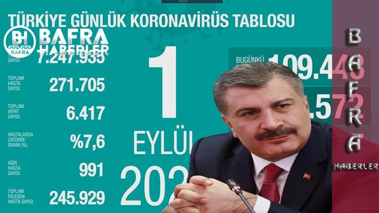 1 Eylül 2020 Türkiye Günlük Koronavirüs Tablosu Yayımlandı