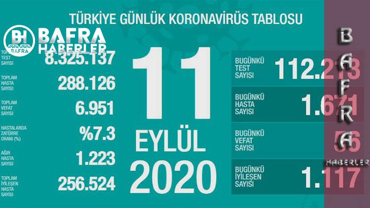 11 Eylül 2020 Türkiye Günlük Koronavirüs Tablosu