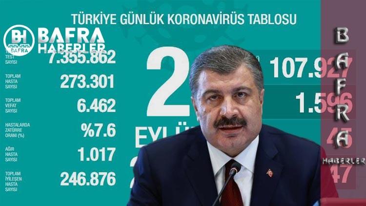 2 Eylül 2020 Türkiye Günlük Koronavirüs Tablosu yayımlandı
