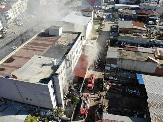 Bafra'da Tekstil Fabrikasında Yangın