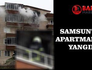 SAMSUN'DA 5 KATLI BİNADA YANGIN ÇIKTI