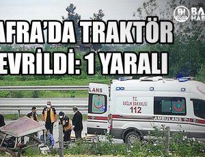 bafra'da traktör devri̇ldi̇: 1 yarali