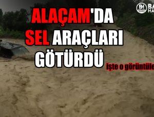 alaçam'da sel araçlari götürdü