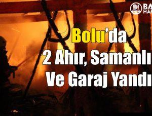 bolu'da 2 ahır, samanlık ve garaj yandı !