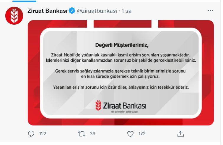 ziraat bankası açıklama yaptı