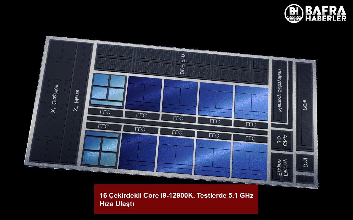 16 çekirdekli core i9-12900k, testlerde 5.1 ghz hıza ulaştı 3