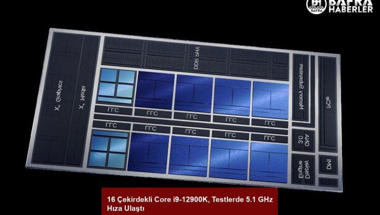 16 çekirdekli core i9-12900k, testlerde 5.1 ghz hıza ulaştı