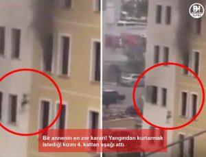 bir annenin en zor kararı! yangından kurtarmak istediği kızını 4. kattan aşağı attı