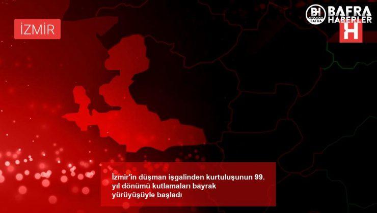 i̇zmir'in düşman işgalinden kurtuluşunun 99. yıl dönümü kutlamaları bayrak yürüyüşüyle başladı