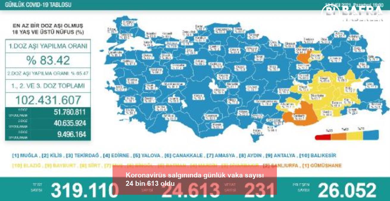 koronavirüs salgınında günlük vaka sayısı 24bin 613 oldu 2